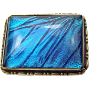 Art Deco Silver/White Metal MORPHO Iridescent Blue Butterfly Wing Pin