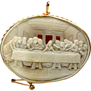 Vintage 9ct Gold Hand Carved CAMEO Brooch LAST SUPPER Signed