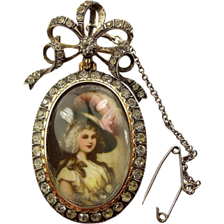 Victorian French Silver & Paste LOCKET Hand Painted Lady Brooch/Pendant