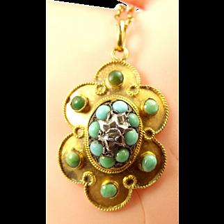 VICTORIAN 15ct Gold Turquoise & Diamond Pendant & 15ct Gold Chain