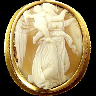 Edwardian 9ct Gold Shell CAMEO Brooch Lady & CHERUB