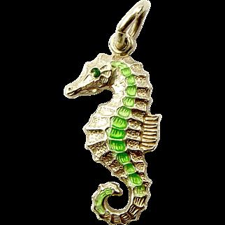 Vintage Silver Charm TLM Mott SEA HORSE Green Enamel