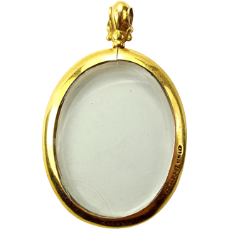 ANTIQUE Oval 9ct Gold Double Picture LOCKET Ornate Surmount CHESTER 1918