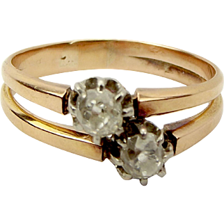 VICTORIAN 18ct Gold & Diamond By Pass Engagement RING