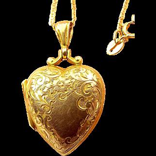 """Antique VICTORIAN 9ct Gold LOCKET & 18"""" 10k Gold Chain"""