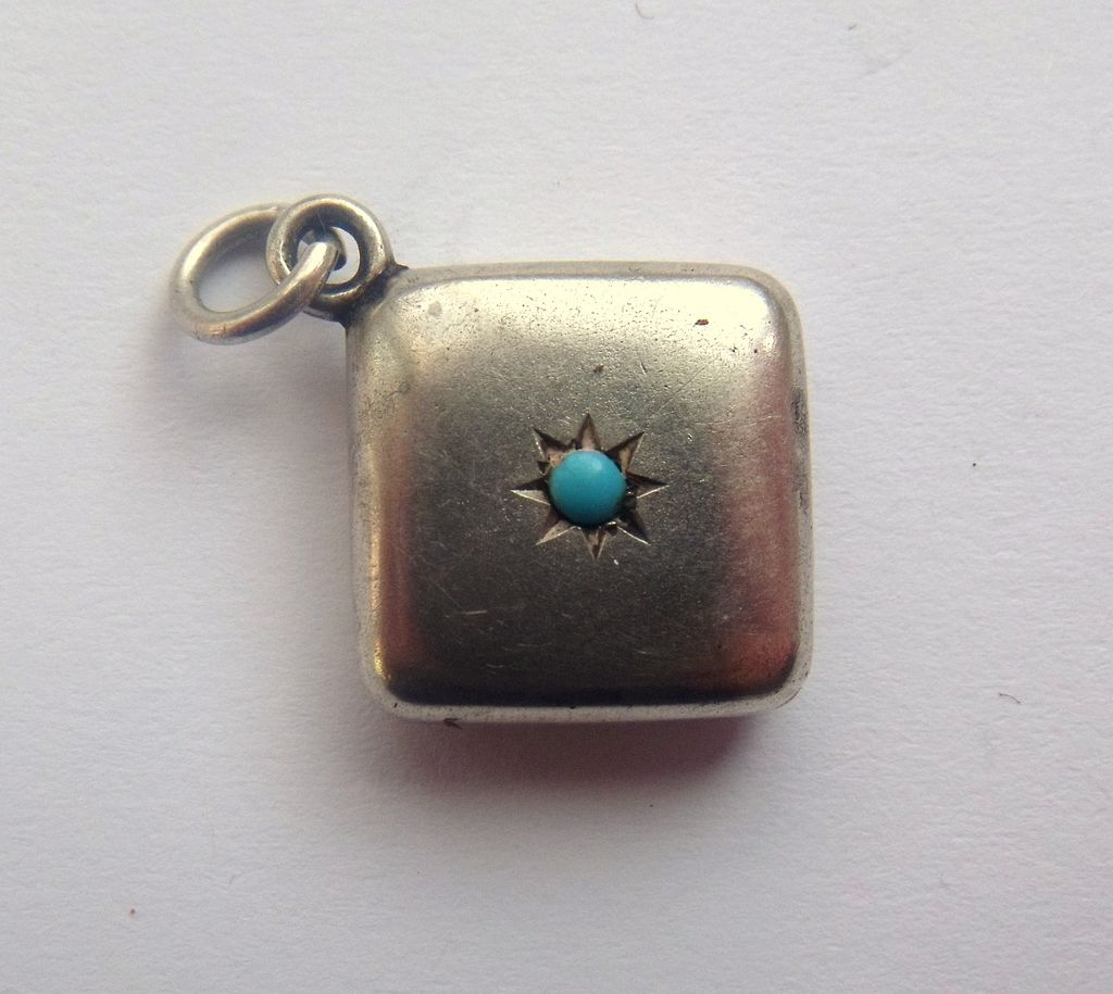 Antique Victorian Silver & Turquoise French Charm 1899-1900