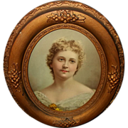 Oval Wood and Gesso Frame with Vintage Portrait Print of Lady - Red Tag Sale Item