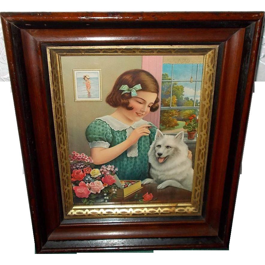 Vintage Calendar Print of Young Girl Feeding White Dog