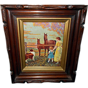 Deep Carved Wood Frame with  Horses, Mother and Daughter, and Collie by Carl Kahler - Red Tag Sale Item