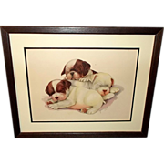 Three Bulldog Puppies by Grace Lopez - Wood Frame