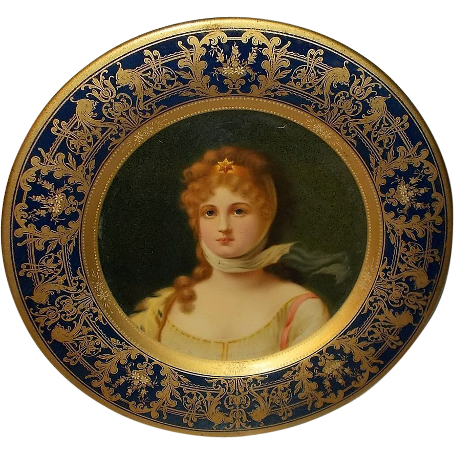 Lithographed Tin Vienna Art Plate of Queen Louise