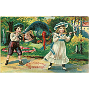 Embossed Thanksgiving Postcard with Boy, Girl and Turkey