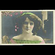 Real Photo Tinted Postcard of British Actress Mabel Green