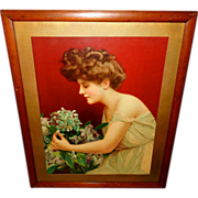 Large Chromolithograph of Gibson Style Girl with Flowers - Wood Frame