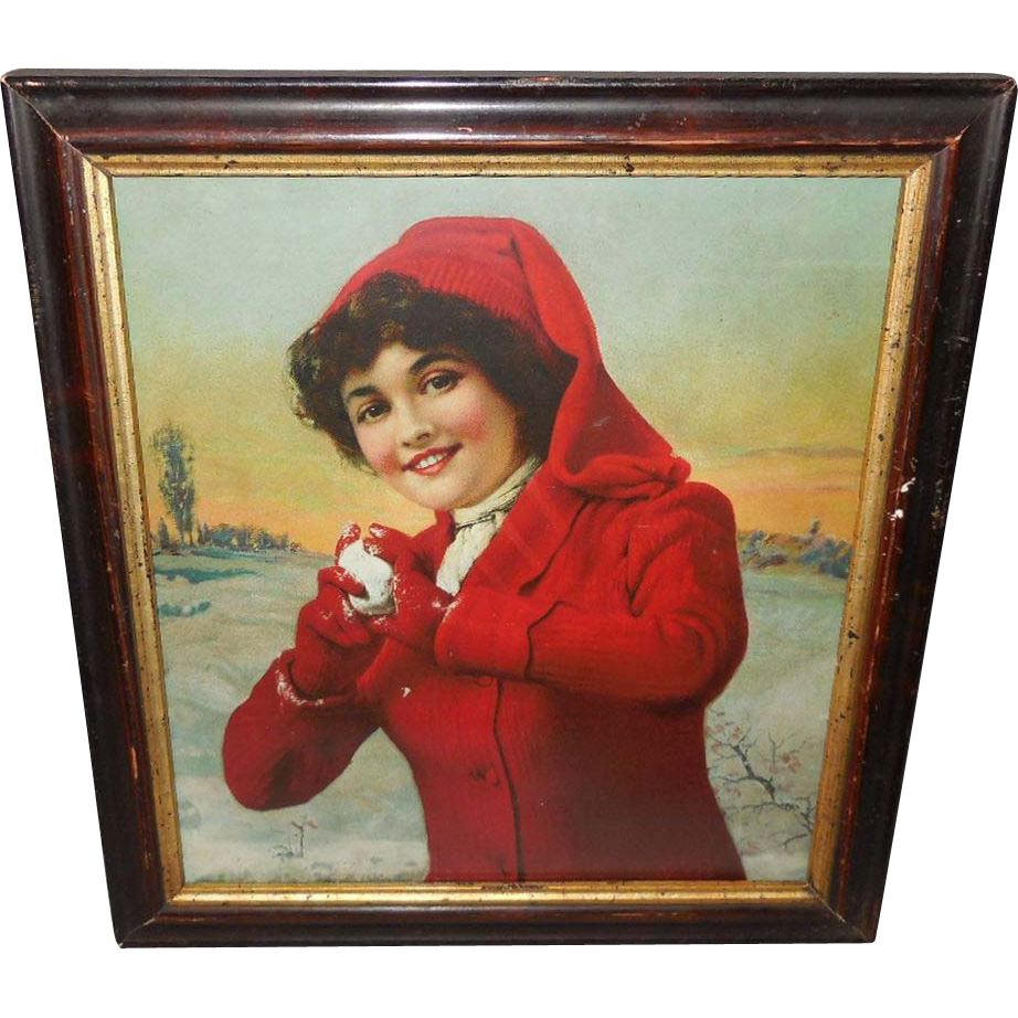 Beautiful Lady in Red Throwing Snowballs - Vintage Print in Wood Frame