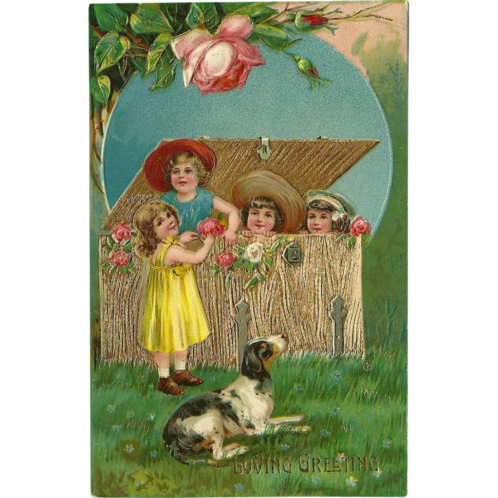 Embossed Vintage German Postcard with Children and Dog