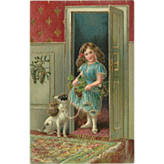 Embossed Vintage German Postcard with Girl and Dog