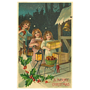 Embossed Christmas Postcard with Children Bearing Gifts
