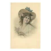 Vintage Postcard of Lovely Lady by M.M. Vienne - Undivided Back