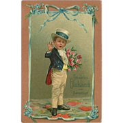 Embossed German Postcard of Dapper Young Boy with Roses - 1908