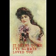 Vintage Postcard of Lovely Lady - Sweet Peas - 1907