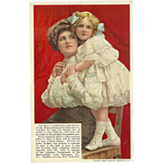 Vintage 1908 Advertising Postcard for Metropolitan Life Insurance with Mother and Daughter