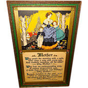 Lovely Mother's Day Motto Print Dated 1926 by E.M. Brainerd - Green and Gold Frame
