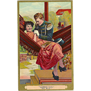 Romantic Postcard of Man and Woman - Hammock Days