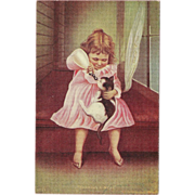 Undivided Postcard of Young Girl Feeding Bottle to Cat - Red Tag Sale Item
