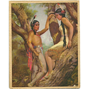 Small 1939 Twelve Month Calendar with Indian Love Call by Adelaide Hiebel