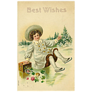 Embossed 1907 Best Wishes Postcard of Skating Child