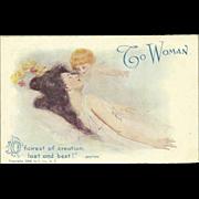 Vintage Postcard of Woman with Cherub - To Woman - Copyright 1905 Ullman