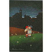 Vintage Artist Signed Postcard - Two Children in Field - Columbo 1920s