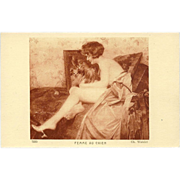 Vintage French Risque Postcard of Woman with her Dog by Watelet - Red Tag Sale Item