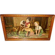 Doggie's Toilet by Marie Wunsch - Girl and Boy with Dachshund Dog