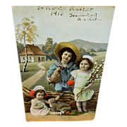 Vintage Postcard of Three Children with Hen and Rabbit