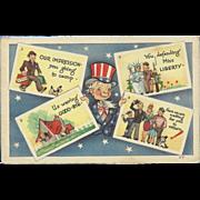 Vintage Patriotic Uncle Sam Postcard Holding Four Postcards - Red Tag Sale Item