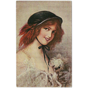 Vintage Postcard of Molly and Molly - Lady and Dog Signed by B. Dietze