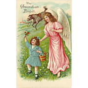Embossed Vintage German Postcard of Guardian Angel, Young Girl and Horse