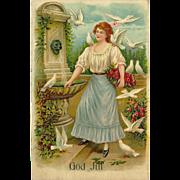 Embossed Vintage German Postcard of Lady with Doves - God Jul