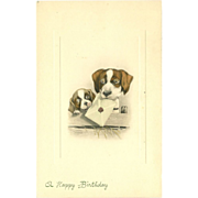 Vintage Art de Vienne Postcard of Two Dogs - By Ulrich Weber Happy Birthday