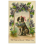 Vintage Embossed 1911 German Postcard of Dog with Flowers