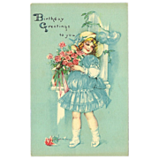 Unusual Blue Vintage Postcard of Young Girl - Birthday Greetings