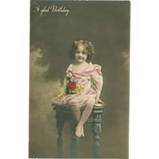 Lovely Tinted Photo Postcard of Young Girl on Stool - Birthday