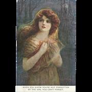 Cress Woollett Signed British Postcard of Art Nouveau Lady