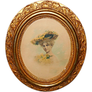Watercolor of Lady in Large Hat - Ornate Oval Wood Frame