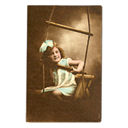 Raphael Tuck Hand Colored Photo Postcard of Young Girl on Swing - 2 of 2