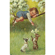 Vintage Postcard of Young Child Playing with Dogs - Neckerei