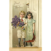 German Vintage 1908 Embossed Postcard of Boy and Girl - Best Wishes