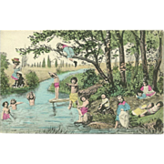 Vintage Fantasy Postcard of Babies and Children Swimming